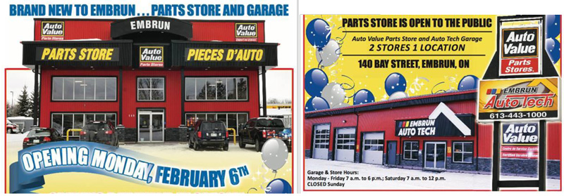 images are about the partnership between Crysler Automotive Centre grand opening and Embrun Auto Value.